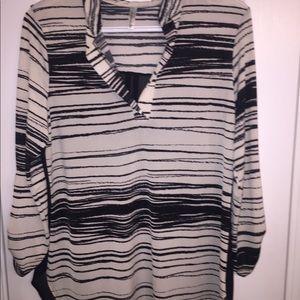 Black and White Blouse Top Zebraish Print